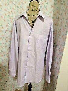 VAN HEUSEN, MEN'S Lavender Cotton Bl Long Sleeved Textured Dress Shirt, Sz 17.5T
