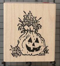 Halloween Jack-o-lantern Pumpkin Rubber Stamp Smiling Fall Leaves Bag