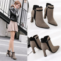 Winter Fashion Women Ankle Boots Suede Solid Color High Heels Martin Boots
