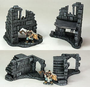 'RUINED CORNERS PACK' - DUNGEONS AND DRAGONS - FANTASTY TERRAIN FULLY PAINTED