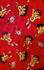 "Dora the Explorer Diego Soccer Fabric By the Yard Football 44"" Wide Soccer Balls"