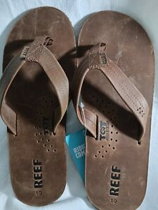 Men reef, sz.10, leather, bottle opener flip flops. Brown, tqt arch system