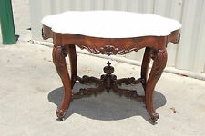 Magnificent Large Victorian Rococo Mahogany Turtle Marble Top Center Table c1850