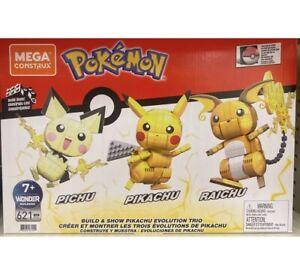 NEW Mega Construx Pokémon PIKACHU EVOLUTION Trio Build & Show Pichu Raichu Lego