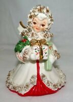 Vintage Napco Christmas Angel with Gold Spaghetti Trim S116B
