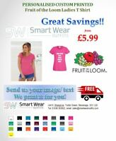 Custom Printed Personalise Cotton Ladies T-Shirt Add Text, Logo/Image