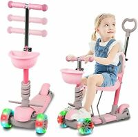 KIDS BOYS GIRLS 3 WHEEL SCOOTER WITH LIGHT UP WHEELS, ADJUSTABLE SEAT & HANDLE