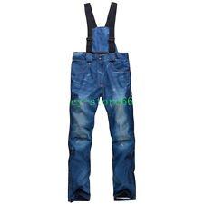 Men Womens waterproof ski pants Jeans Snowboarding Denim Retro warm Long trouser