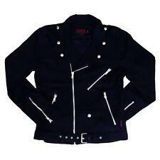Tripp NYC Gothic Punk Rock Mens Denim Basic Black Moto Motorcycle Jacket Size S