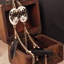 Fashion Vintage Lace Mask Feather Tassel Rhinestone Elegant Women Drop Earring