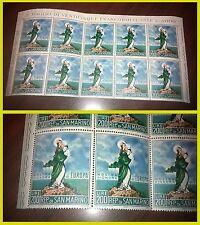 San Marino 1966 Nostra signora d'Europa Testata di foglio 10 francobolli NUOVA