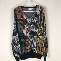 St Croix Knits Multi-Color Funky Sweater Mens M V-Neck Biggie Cosby Coogi-Lik