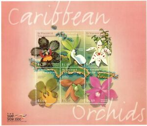 St. Vincent 2000 SC# 2776 Caribbean Orchids, Flowers - Sheet of 6 Stamps - MNH