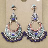 Vintage Silver Crescent Stone Banjara Kuchi Belly Dance Jhumka Gypsy Earrings
