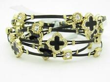 6 Gold Plated Stainless Steel Enamel Clover Crystal Stackable Bangle Bracelets