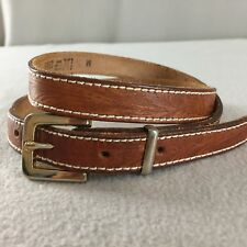 Vintage Bren Belt Embossed Narrow Brown Leather Gold Buckle Size M 31""