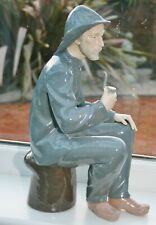 """RARE Large Vintage Lladro NAO Fisherman With Pipe Figurine 15"""" tall - Perfect"""