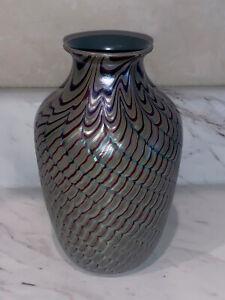 Vintage 1980 Orient & Flume iridescent Art Glass Vase Signed