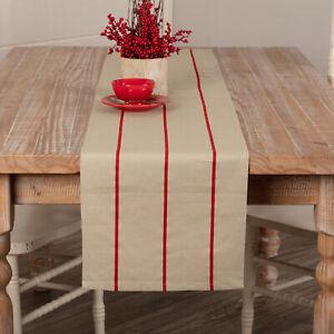 "VHC Brands Farmhouse 13""x72"" Table Runner Red Lauren Cotton Kitchen Table Decor"