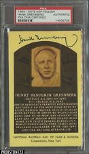 Hank Greenberg Signed 1964 Yellow HOF Plaque Postcard AUTO PSA/DNA Authentic