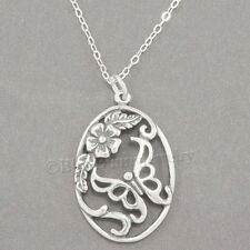 "BUTTERFLY Necklace Flower Charm Garden Pendant 925 STERLING SILVER 18"" chain"