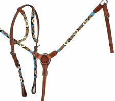 Western Saddle Horse Beaded Leather Tack Set Bridle Headstall + Breast Collar