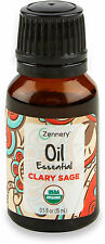 Certified Organic Clary Sage Essential Oil, Zennery, 0.5 oz