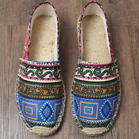 Mens Canvas Paisley Driving Shoes Weave Slip-On Casual Loafers Espadrille Shoes