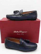 NIB Salvatore Ferragamo Navy Blue Simone Leather Tassel Drivers Loafers 7.5 40.5