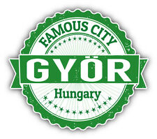 "Gyor City Hungary Grunge Travel Stamp Car Bumper Sticker Decal 5"" x 4"""