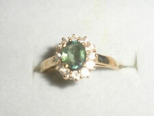 9K COLOUR CHANGE (GREEN,BLUE YELL) & WHITE SAPPHIRE GOLD RING RARE CERT OF AUTH-