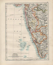 1909 VICTORIAN MAP ~ INDIA SOUTH-EAST ~ BOMBAY MADRAS