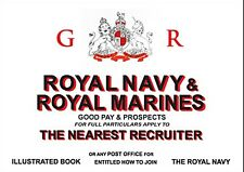 Royal Navy & Royal Marines recruitment enamelled steel sign 230mm x 165mm   (dp)