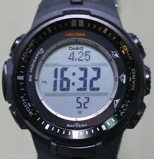 Casio Pro Trek Mens Black Triple Sensor Multi-Function Sports Watch PRW-3000-1CR