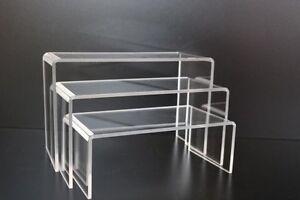 Acrylic Free Standing Plinths Lifts Shoe Riser Pack of 3 Or Single Shoe Bridge