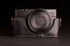 Handmade Genuine real Leather Half Camera Case bag cover for SONY RX100 BLACK