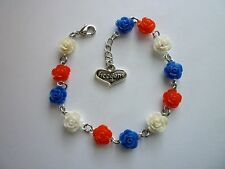"""Silver Tone Bracelet 4th Of July Red/White/Blue Acrylic Roses """"Freedom"""""""
