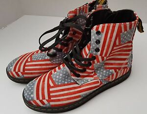 New Doc DR Martens Ankle Boots Shoe Kids USA Flag High Top Patriot Marley 2 1 33