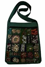 JORDASH  EMBROIDERED RECYCLED SARI PATCHWORK COTTON SHOULDER MESSENGER BAG GREEN