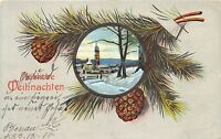 BG4000  weihnachten  bell  christmas fir branch embossed germany  greetings