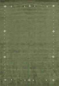Contemporary Green Modern Gabbeh Oriental Hand-Knotted Area Rug Wool 8'x11' New