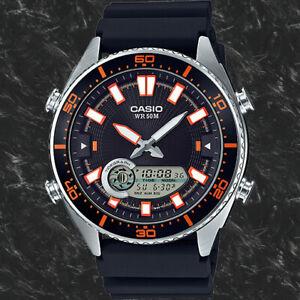 Casio AMW-720-1AV Mens Black Analogue and Digital 50M WR Watch Tide Graph New