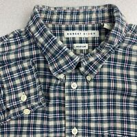 Robert Stock Button Up Shirt Mens Medium Blue Green Long Sleeve Tan Cotton Check