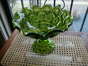 Antique Vtg EAPG Large Moon Stars Compote Green Glass Pedestal Footed Bowl