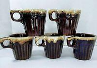 Set of 5 Ovenproof USA Brown with Frothy White Drip Glaze Rib Pottery Coffee Mug