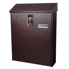 "16"" Large Steel Locking Mailbox Wall Mount Newspaper Letterbox w/ Door & 2 Keys"