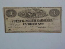 Civil War Confederate 1863 1 Dollar Bill Raleigh North Carolina Paper Money Note