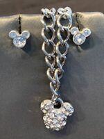 Mickey Mouse Necklace Earrings Set Marked Disney Silver Tone Rhinestones Vintage