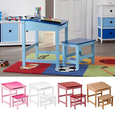 Study Activity Desk Kids Childrens Wooden Table & Stool Chair Seat Furniture Set