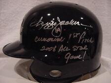 GORGEOUS Reggie Jackson RARE INSCRIPTION Auto'd 2008 AS Game Mini Helmet. MINT!